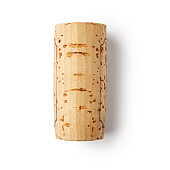 One wine cork isolated on white background