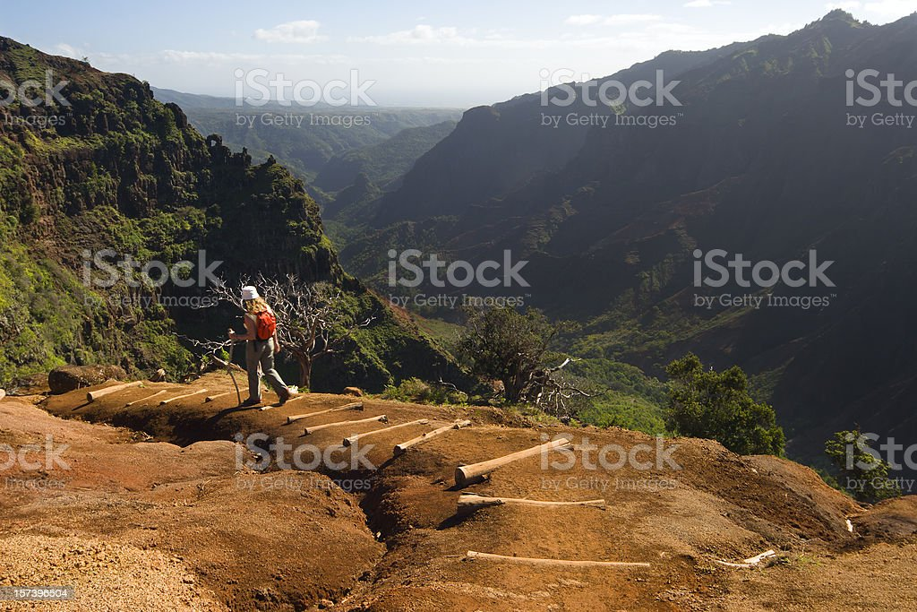 One woman hiking a Waimea Canyon trail, Hawaii. stock photo