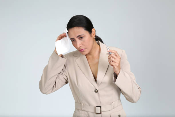 en kvinna bara, isolerad på vitt, olika poser - mature woman fever on white bildbanksfoton och bilder