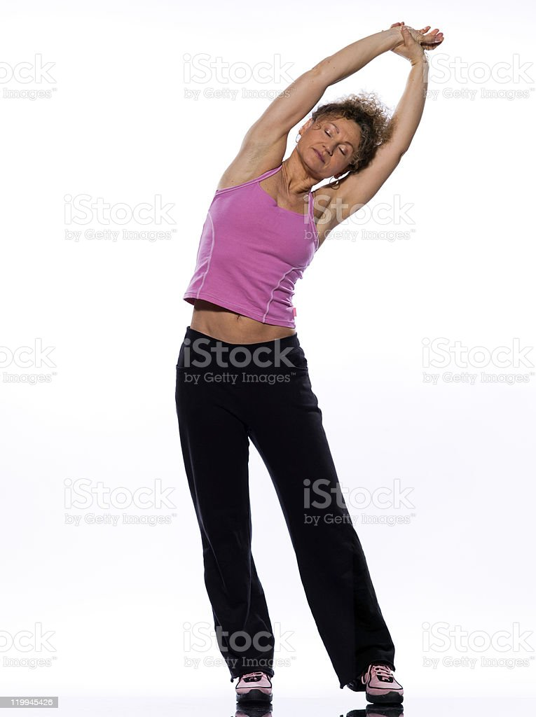 one woman stretching posture fitness workout royalty-free stock photo