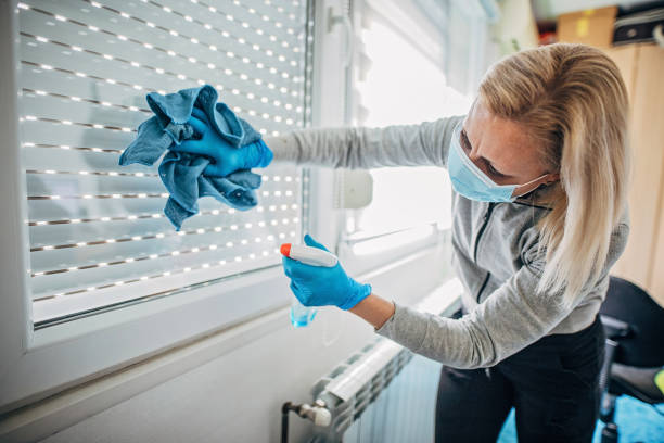 One woman wiping and doing disinfection on windows stock photo