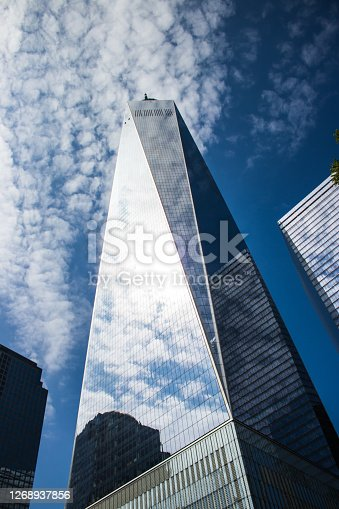 The One World Trade Center pictured against blue skies in New York City.