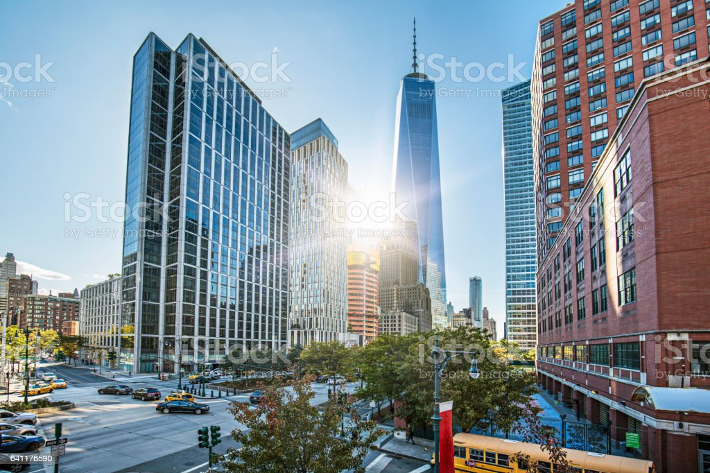 One World Trade Center against sky on sunny day stock photo
