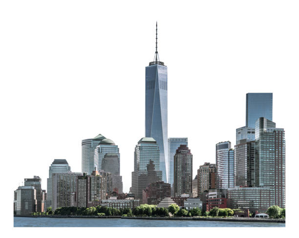 One World Trade Center and high-rise building isolated with clipping path stock photo