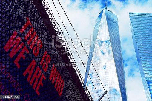 istock One World Trade Center and phrase USA 915021906