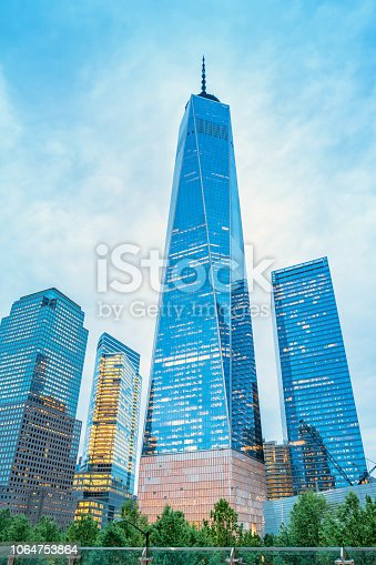 Stock photograph of One World Trade Center aka Freedom Tower in New York City at twilight.