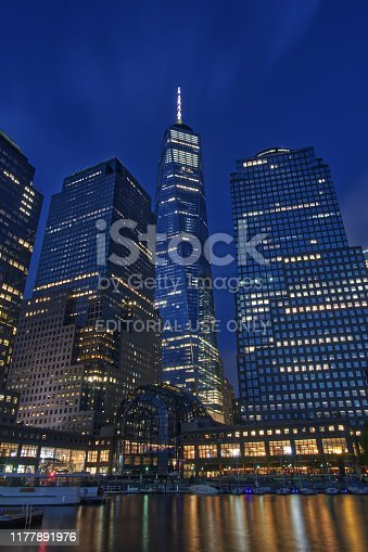 New York City, USA - 05/05/2019: The image shows a part of the financial district in Manhattan with the One World Trade Center.