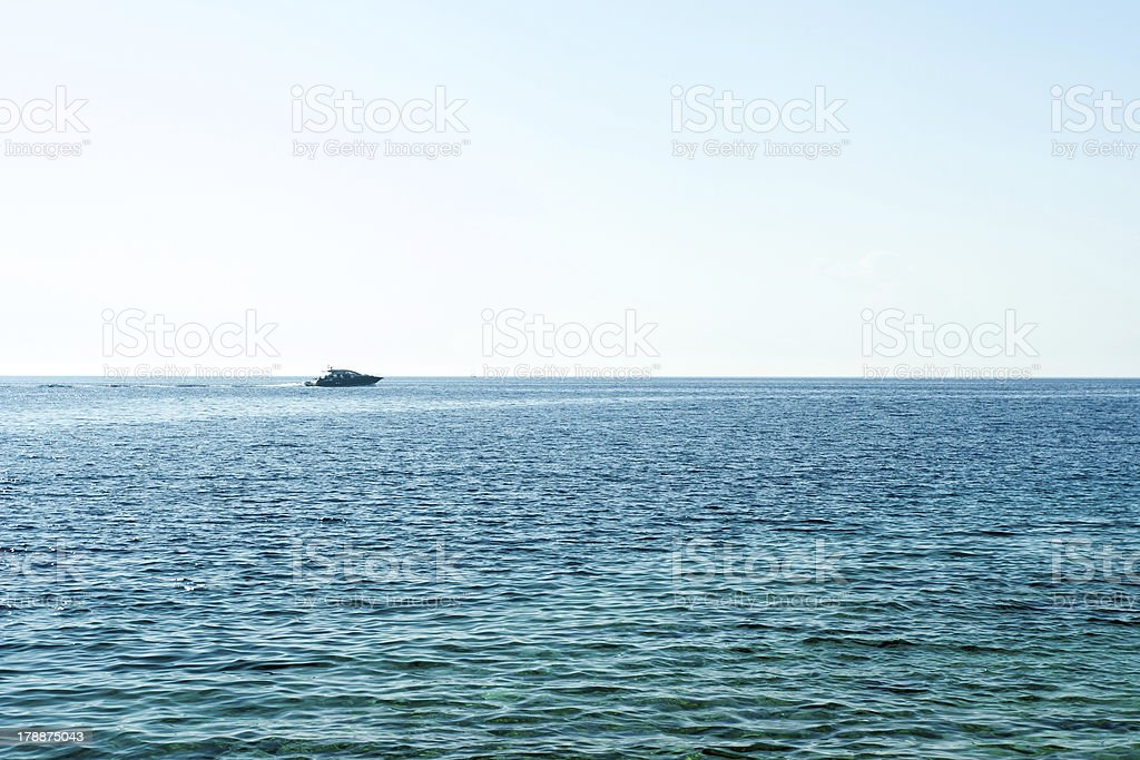 One yacht on open water royalty-free stock photo