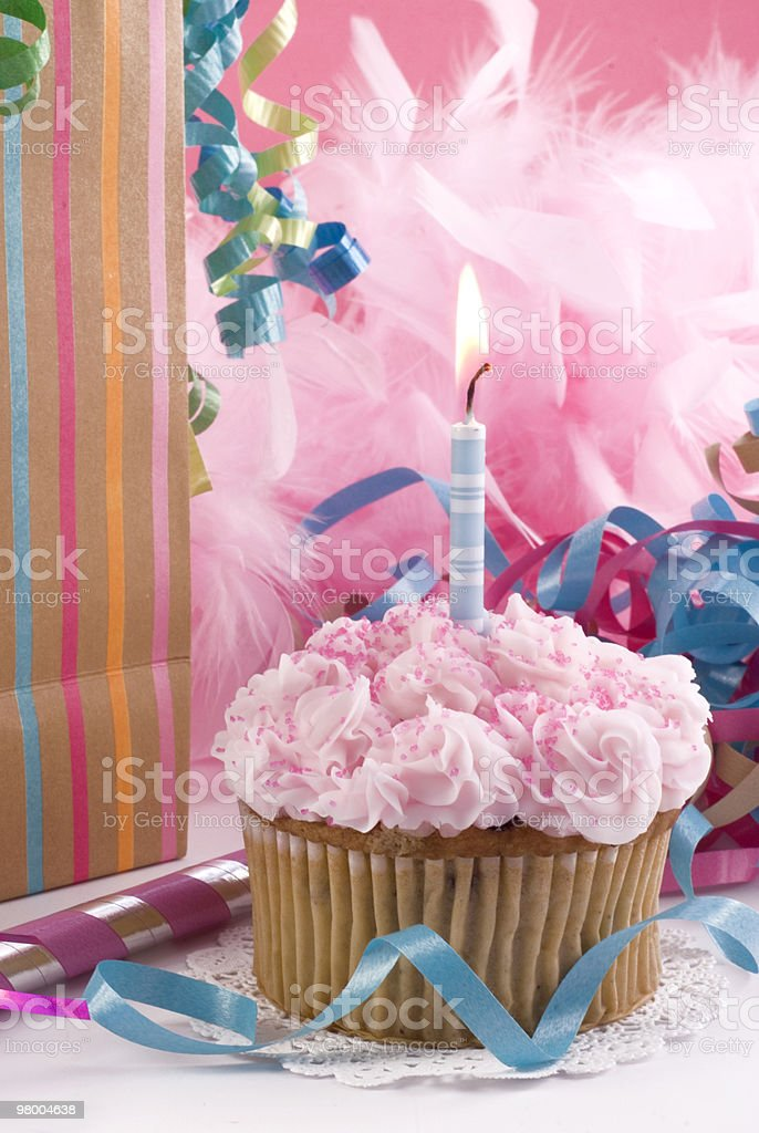 One Year Birthday Cupcake royalty-free stock photo