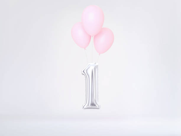 one year birthday. number 1 - number 1 stock pictures, royalty-free photos & images