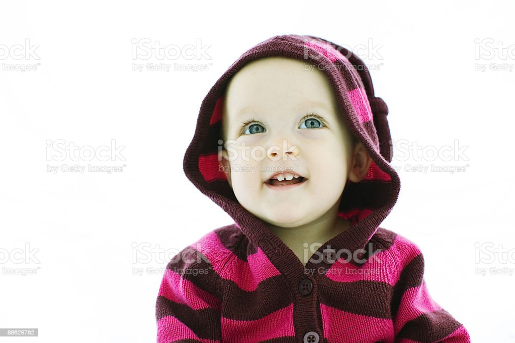 One Year Old Baby Girl in Striped Sweater photo libre de droits