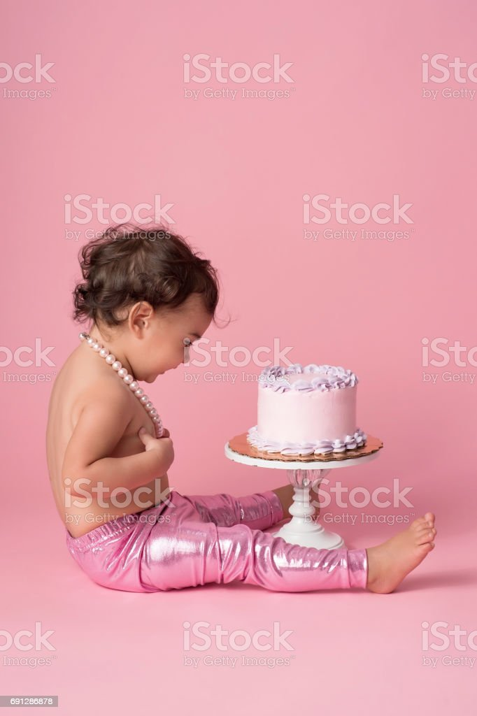 One Year Old Baby Girl With Birthday Cake Stock Photo More