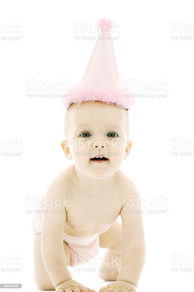 One Year Old Baby Girl With Birthday Hat royalty-free stock photo
