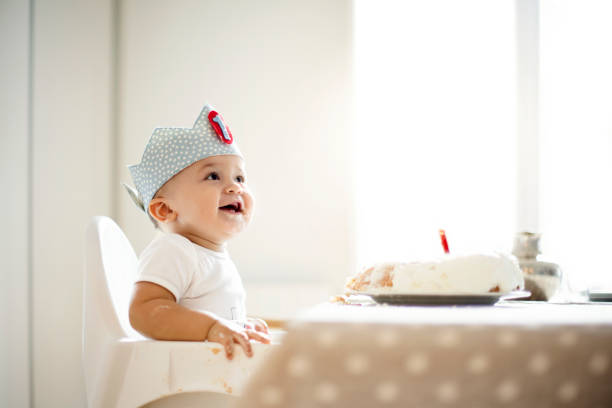 One Year Old boy celebrating birthday One Year Old boy celebrating birthday first birthday stock pictures, royalty-free photos & images