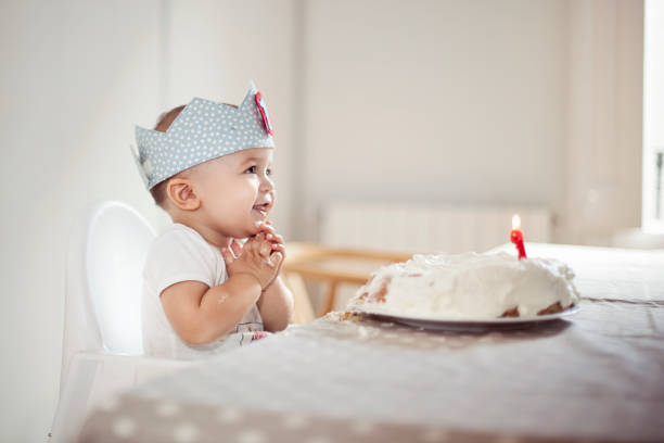 One Year Old boy celebrating brithday One Year Old boy celebrating brithday first birthday stock pictures, royalty-free photos & images