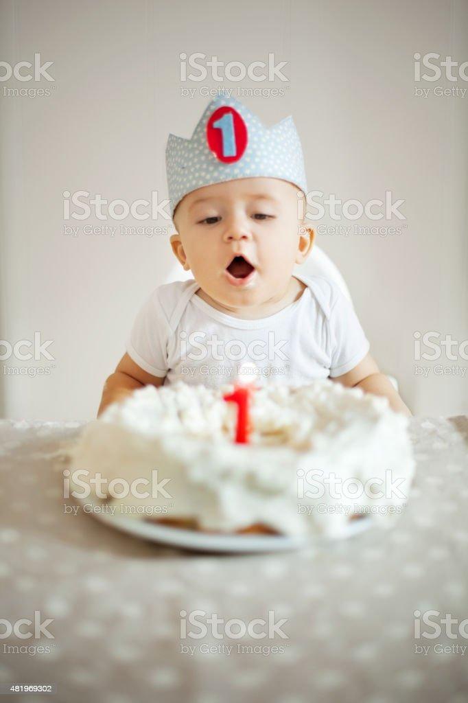 One Year Old boy celebrating brithday stock photo