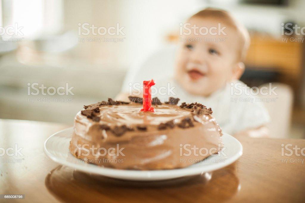 Ein Jahr alt – Jungen feiert brithday Lizenzfreies stock-foto