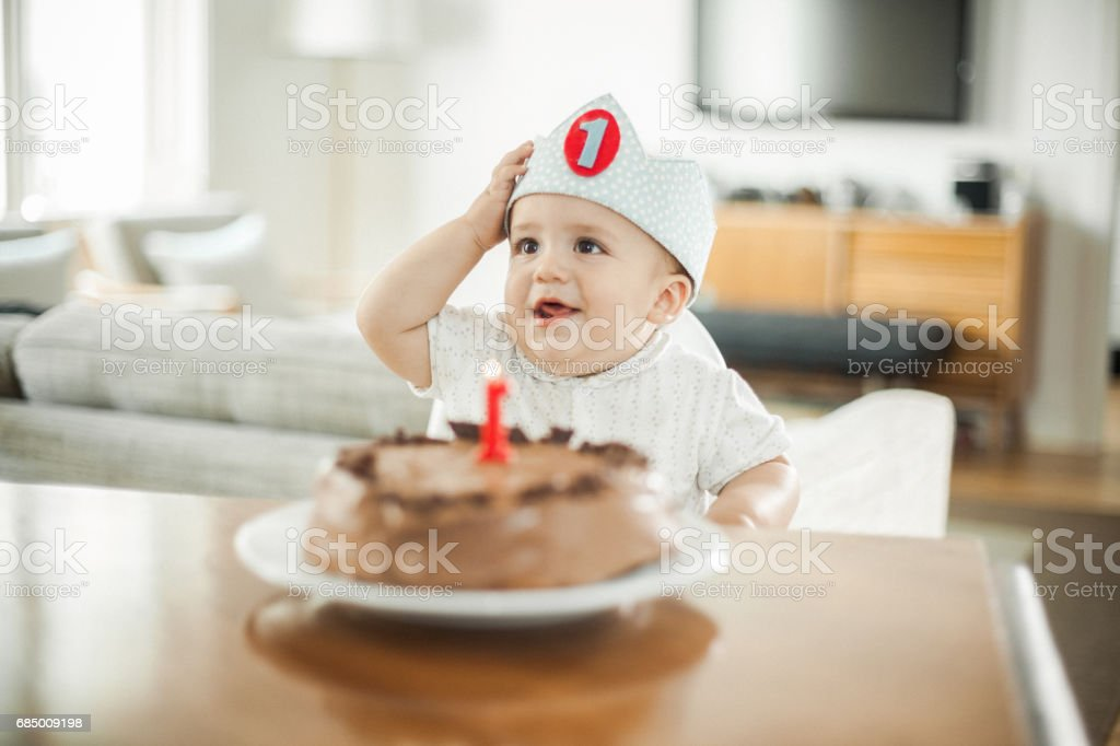 Brilliant One Year Old Boy Celebrating Brithday Stock Photo Download Image Funny Birthday Cards Online Aeocydamsfinfo