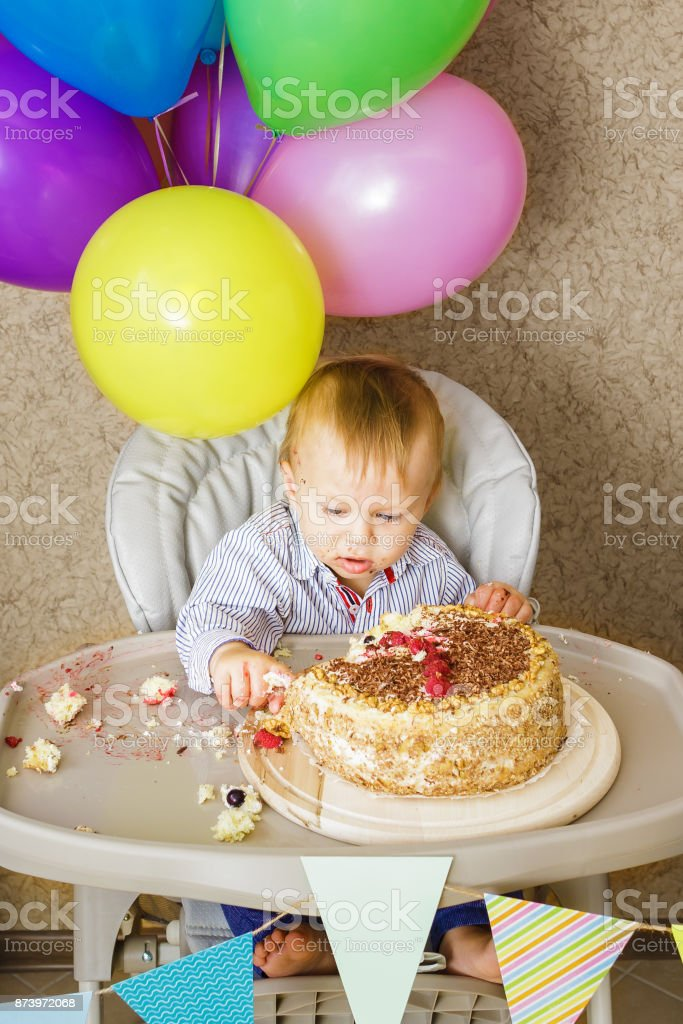 Magnificent One Year Old Boy Celebrating His First Birthday Stock Photo Funny Birthday Cards Online Aeocydamsfinfo