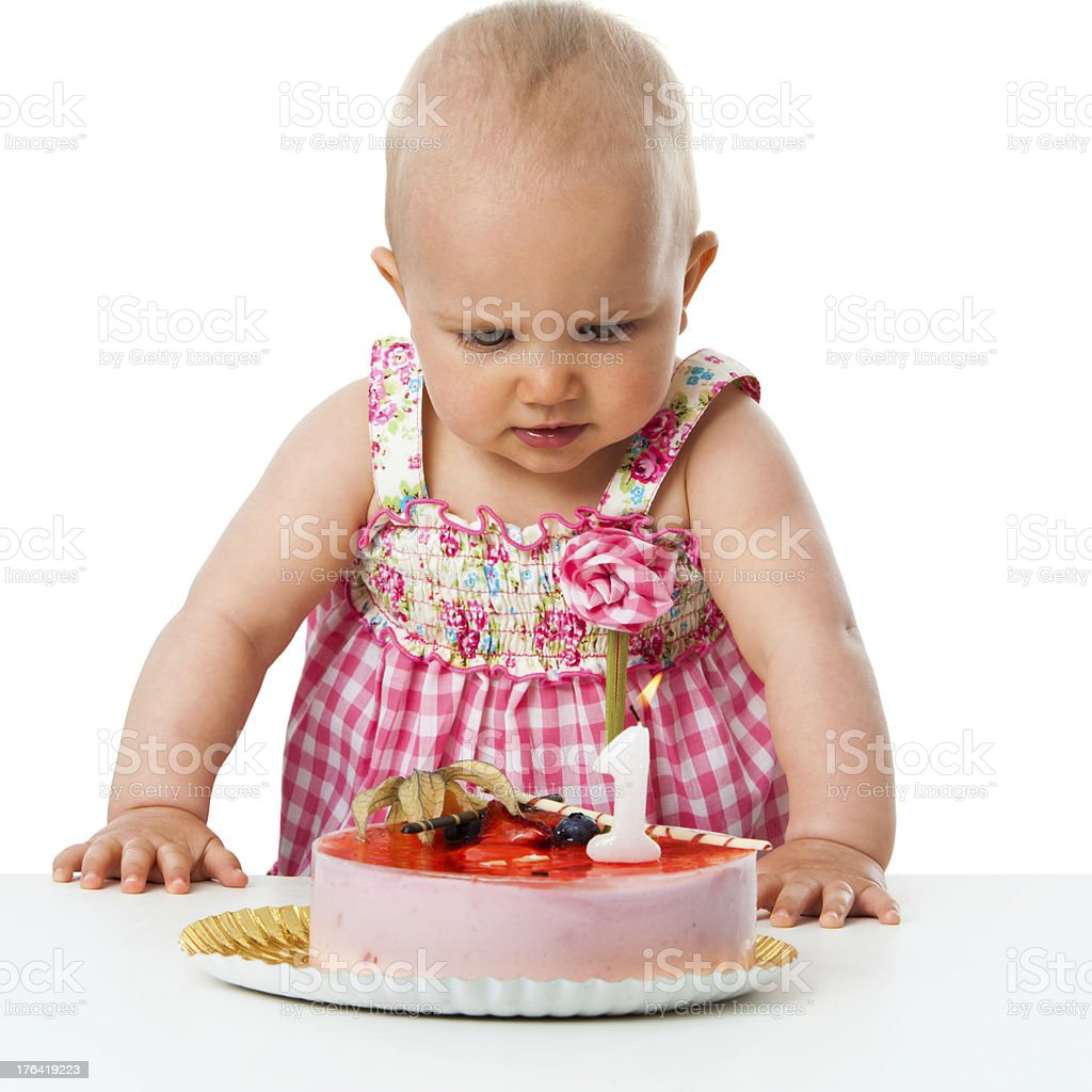 One year ols baby girl with cake. royalty-free stock photo