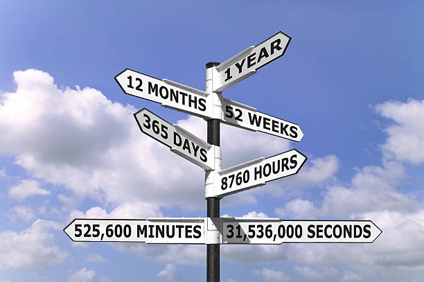 One Year signpost stock photo