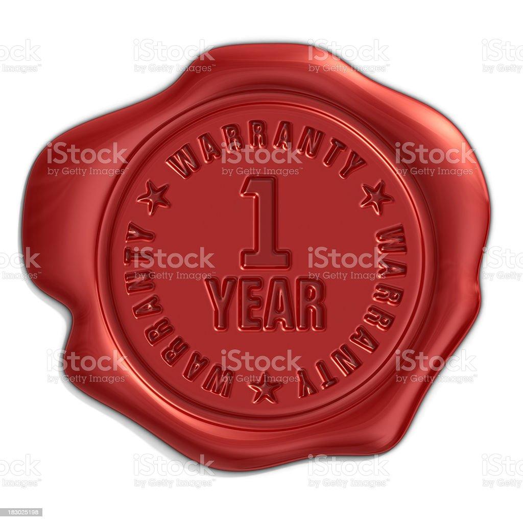 one year warranty seal stock photo