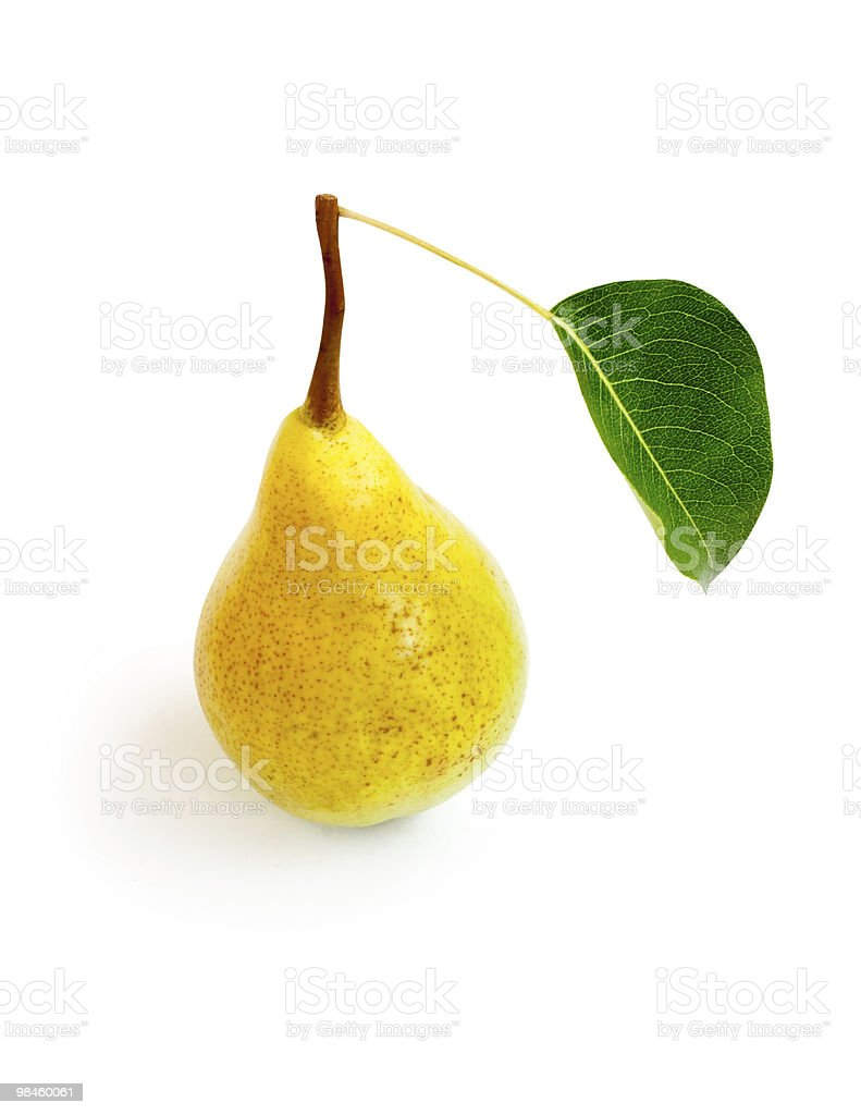 one yellow pear with green leaf royalty-free stock photo