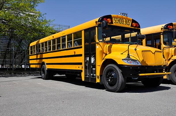 one yellow school bus stock photo