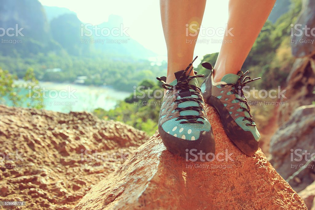 one young woman rock climber  on rock stock photo