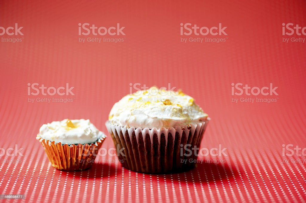 one-bite small chocolate cupcake and normal size homemade chocol royalty-free stock photo