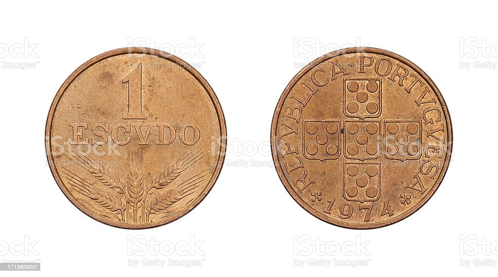 One-Escudo-Coin, Portugal, 1974 royalty-free stock photo