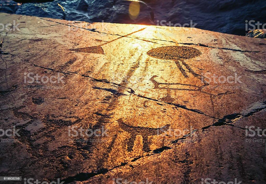 Onega Petroglyphs At Sunset stock photo
