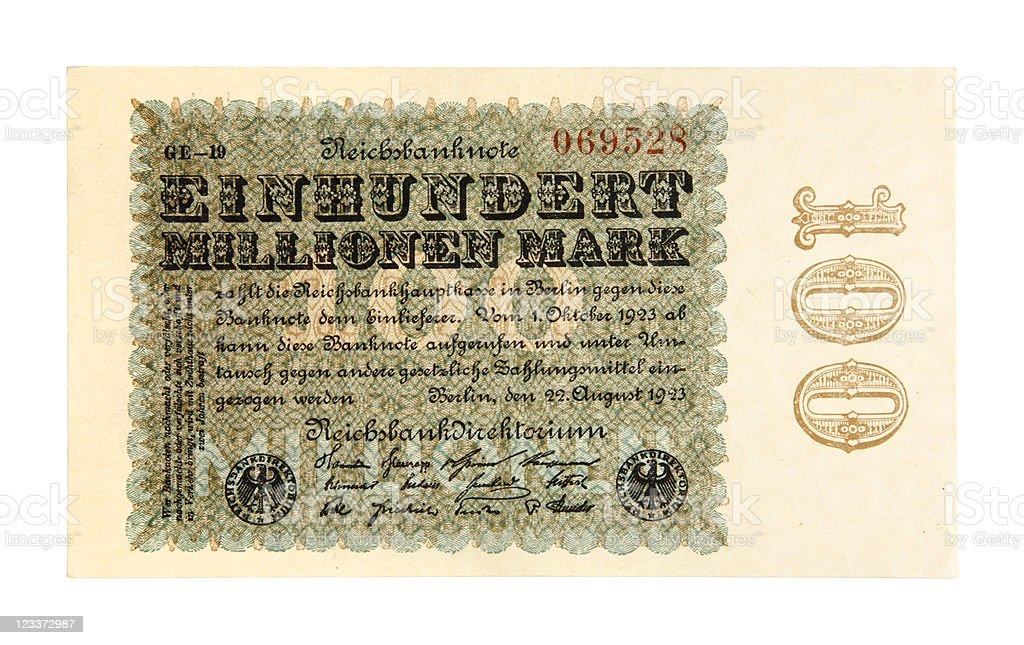 Onehundred Million Mark Bank Note royalty-free stock photo