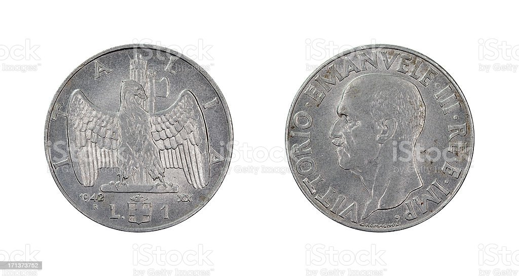 One-Lire-Coin, Italy, 1942 stock photo