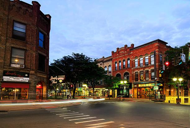 Oneonta NY city streets, downtown scene stock photo