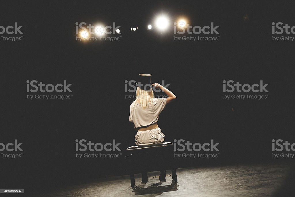 One-person show on stage stock photo