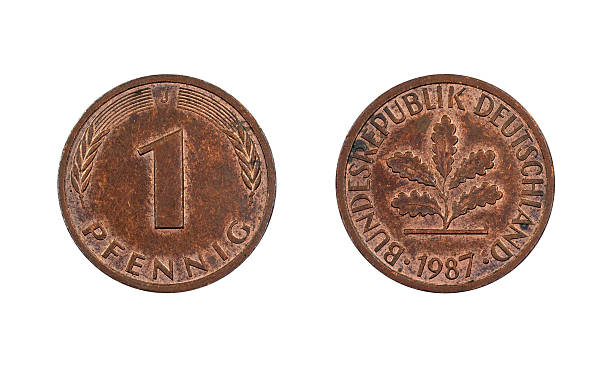 One-Pfennig-Coin, Germany, 1987 stock photo