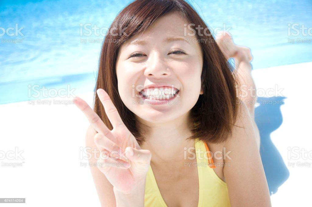 連體泳衣婦女 免版稅 stock photo