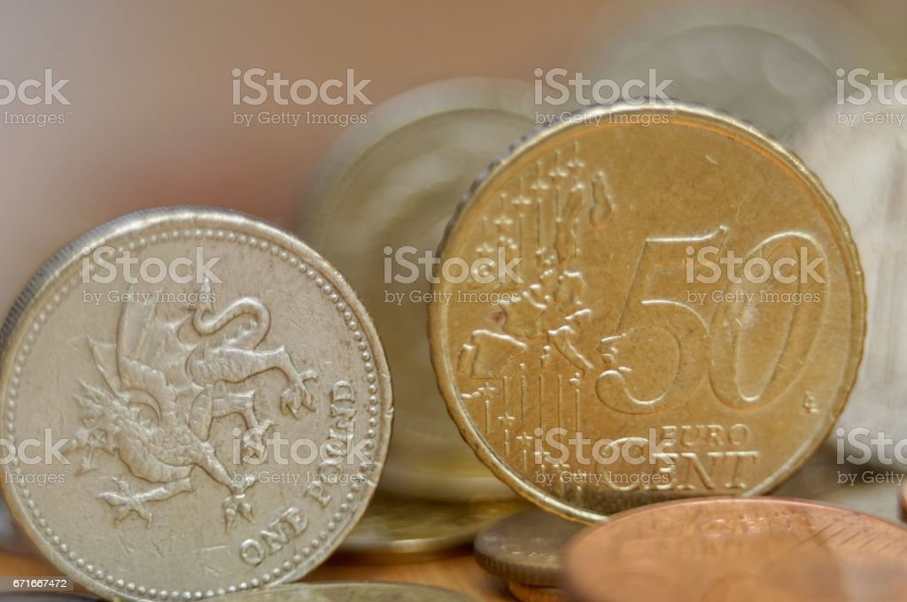 One-pound coin and 50 eurocent stock photo