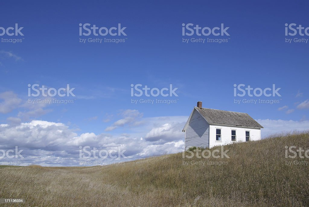 one-room school in desolate rural setting royalty-free stock photo