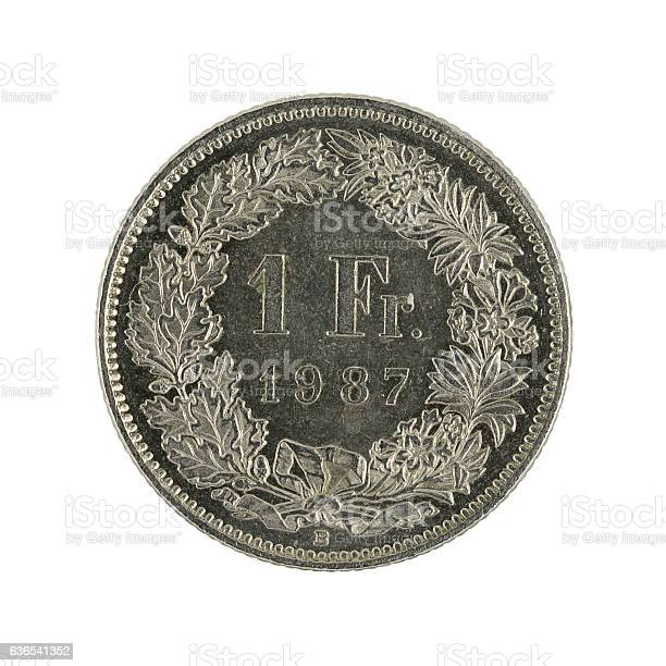 ones wiss franc coin (1987) isolated on white background