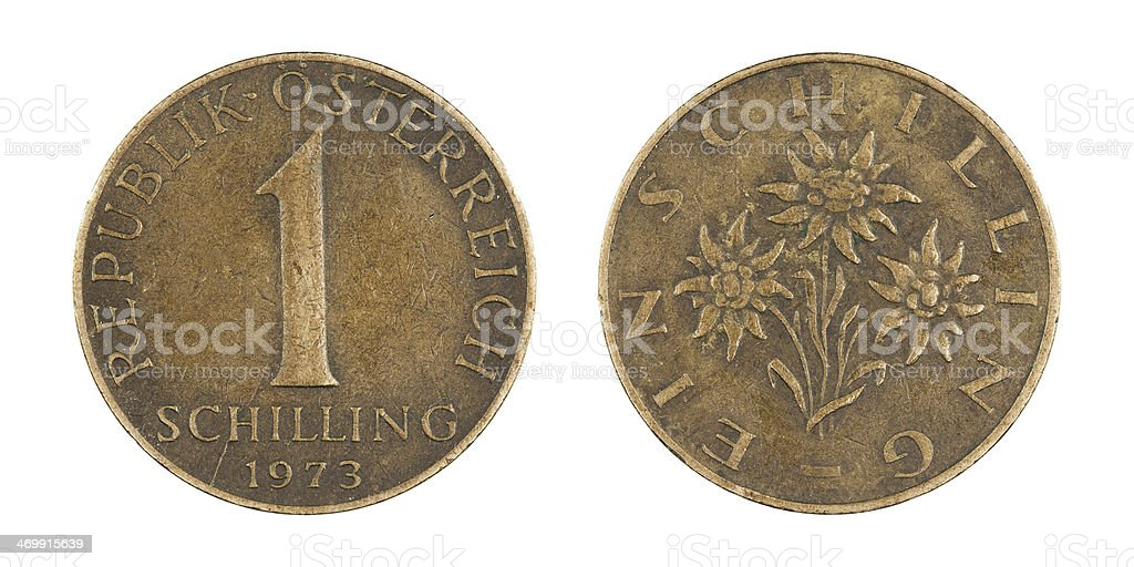 One-Schilling-Coin, Austria, 1973 stock photo