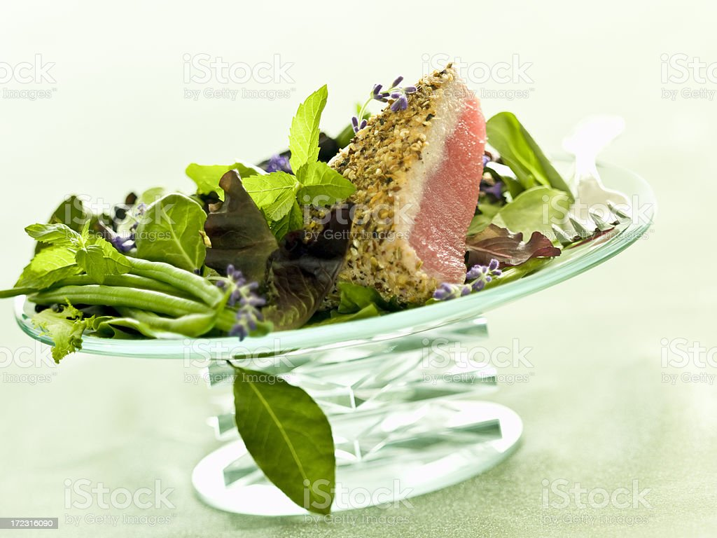 one-sided rare, pan-seared ahi... royalty-free stock photo