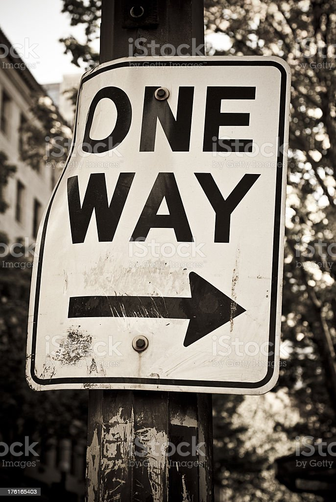 One-way sign in black and white royalty-free stock photo