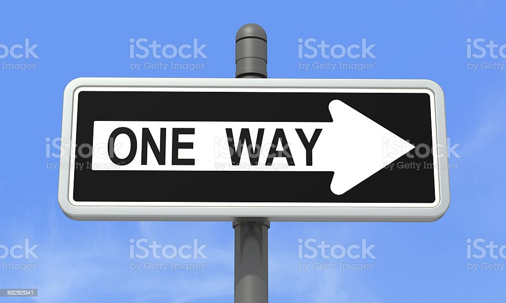 One-way sign stock photo