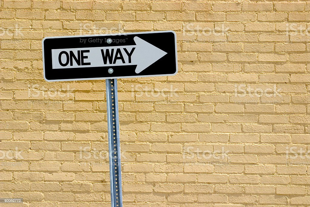 One-way traffic sign stock photo