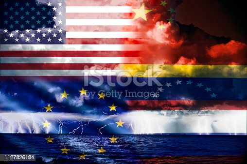 Ongoing conflict in venezuela,conceptuall image with a sea thunderstorm and the flag of venezuela,russia and china opposed to that of europe and usa,  two different sides of the conflict.