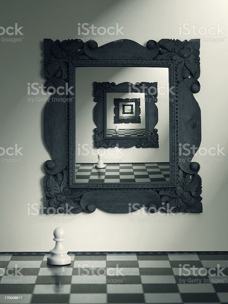 Ongoing reflection of a chess board and a white pawn piece stock photo