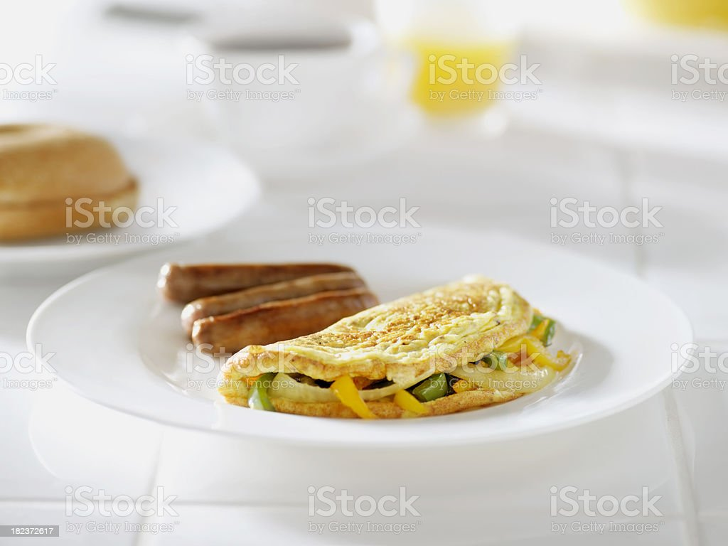 Onion and Peppers Omelette with Sausage royalty-free stock photo