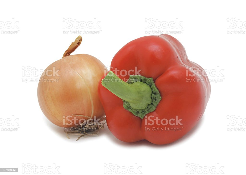Onion and red pepper, isolated royalty-free stock photo